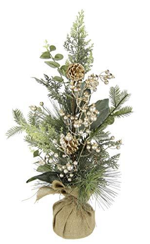 Gesteck aus Tanne Beeren/Zapfen in Jute-Topf Weihnachtsarrangement Künstliche Weihnachtsblumen Kunstblume Winterblume Blume Pflanze Zweige Arrangement Weihnachtsdeko Tischdeko Weihnachten, champagner