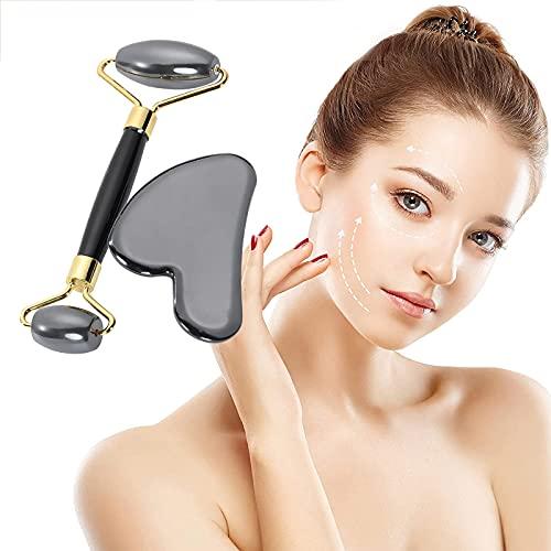 Rodillo facial magnético y conjunto de rodillo facial de Gua Sha para raspar facial, herramienta de masaje facial, cuello y ojo rodillo de belleza