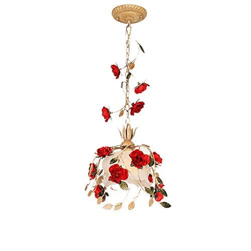 zlw-shop Lámpara Colgante Pastoral de la lámpara del Dormitorio de la Muchacha Princesa Rose Room Sola Cabeza de Pasillo Boda de la lámpara de Las Luces del Restaurante Lámpara de Techo