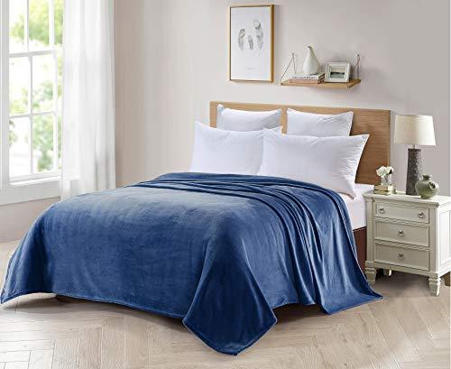 Forentex deken voor bed en bank flanel 300 GMS Lint gratis niet-hedding haar zacht en warm verschillende maten en kleuren L-3099, blauw, 180 x 220 cm