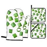 Guantes Y Agarraderas Para Horno Cebolla Verde Picada Manopla Horno Guantes Resistentes Calor Manoplas De Cocina Para Cocina Estufa Microonda