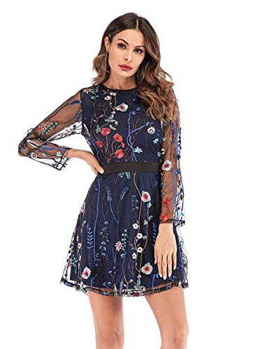 Milumia Women's Round Neck Floral Embroidered Mesh Long Sleeve Dress Navy X-Large