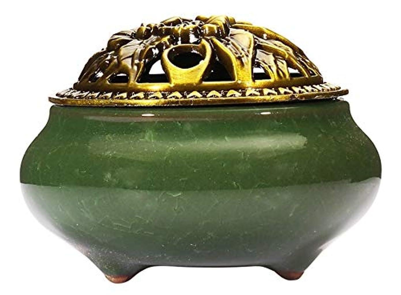 合成賃金映画(Dark Green) - Incense Burner with Brass Incense Stick Holder Ice-Patterned Dark green Handmade Censer by Xujia.