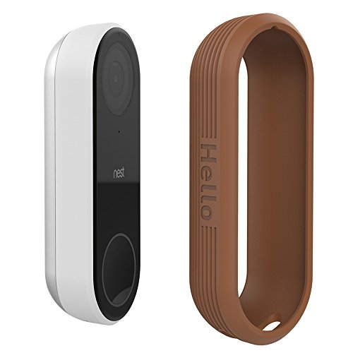 Protective Silicone Covers Colorful Skins for Nest Hello Doorbell, UV Light and Weather Resistant by AhaStyle (Brown)