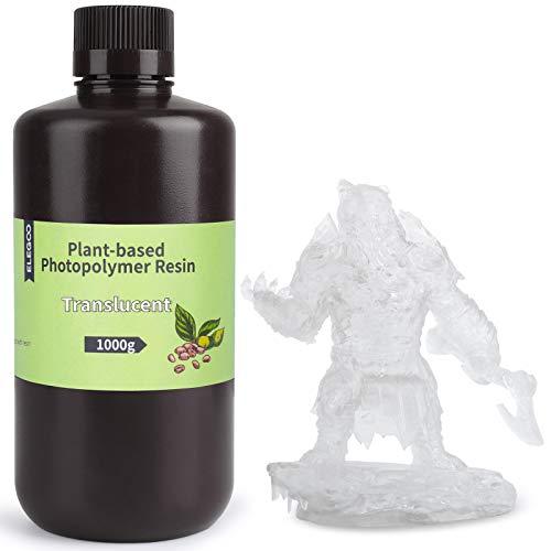ELEGOO Fotopolímero Estándar Resina de Base Vegetal UV de 405nm para Impresoras 3D con Ultra Bajo Olor y Alta Precisión, Resina de Curado Rápido para la Impresión 3D - Translúcido 1000g