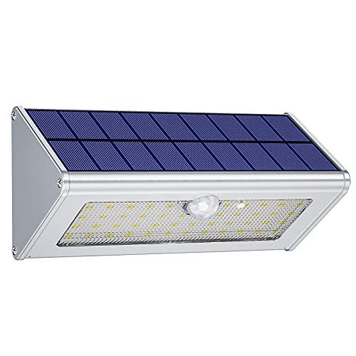 Luce solare led esterno, Licwshi 1100lm 46 LED 4 Mode luci solari 4500mAh alluminio Lega lampade solari a led da esterno Sensore di movimento IP65 impermeabili lampada da giardino per esterni luci da