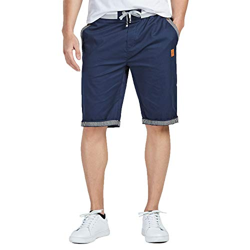 JustSun Mens sports shorts cotton with zip and elastic waist.
