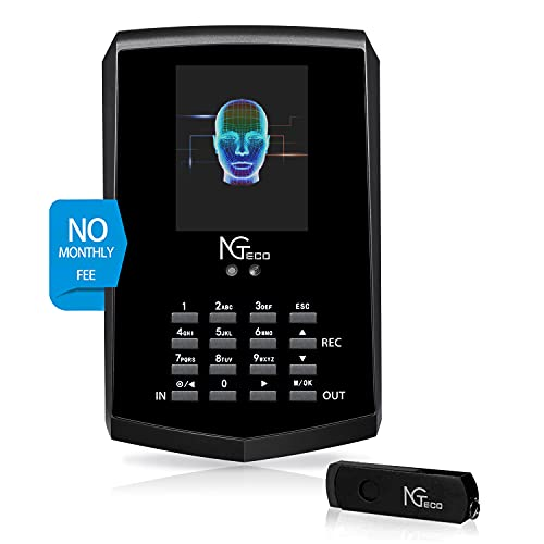 Face Recognition Time Clock, NGTeco Biometric Time Clocks for Employees Small Business In and Out - 2.4Ghz WiFi LAN Facial Touch-Free Time Attendance Machine with APP for iOS/Android(0 Monthly Fee)