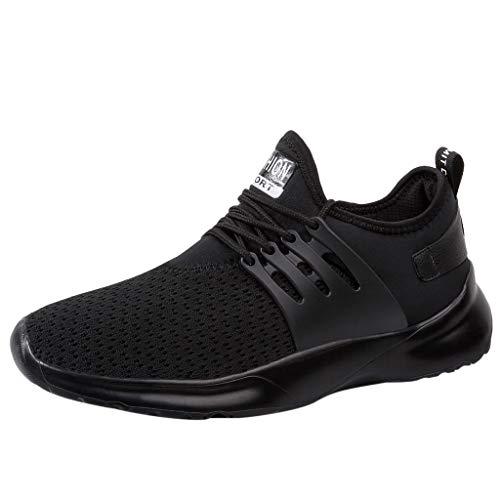 Cebbay Chaussures De Sport Hommes Casual Athlétique Chaussures De Course Respirant Appartements Chaussures De Couleur Unie Sneaker Léger Jogger Loisir Baskets Basses(Noir,41 EU)