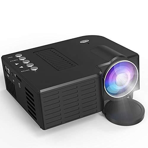 AI LIFE Proiettore LCD 1800 Lumen Mini proiettore Supporta 1080p Full HD Videoproiettore Home Theater multimediale Supporta HDMI USB VGA AV per Theater in House Gioco TV Smartphone,Black
