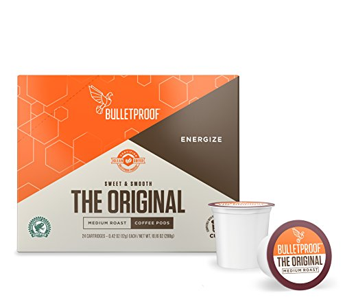 Bulletproof The Original Roast Coffee Pods, Premium Medium Roast Organic Beans, Single-Serve Cups, Works With Keurig 2.0 (24 Count)