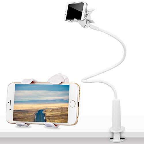 CLM-Tech Schwanenhals Halterung für 7/8 Zoll Tablet PC's und Smartphones, Flexibler Verstellbarer Arm für den Bettrahmen, Schreibtisch und mehr, 90 cm lang, weiß