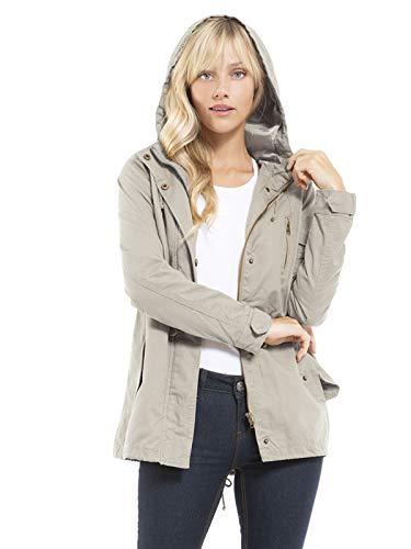 Design by Olivia Women's Military Anorak Safari Hoodie Jacket Stone Grey XL