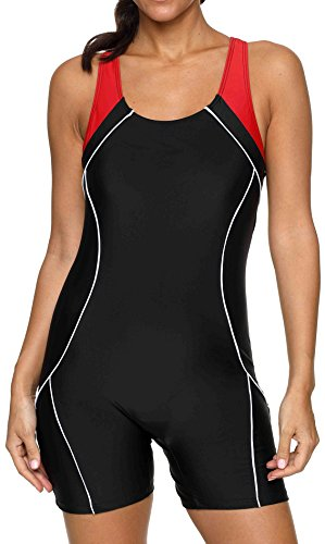 beautyin Womens Bollow Back One Piece Bathing Suit Competitive Swimsuit Swimwear XL Black-red