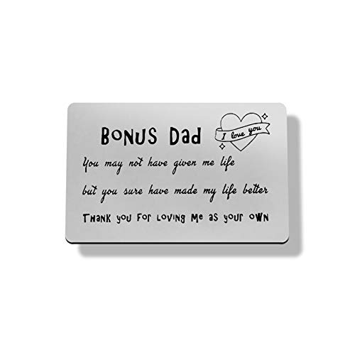 Fathers Day Gift for Bonus Dad Metal Wallet Insert Card Stepdad Birthday Card Gift,Stepfather Gift Stepdad Gift from Daughter Son Kid,Thank You Gift for Stepfather Christmas Wedding Gift for Stepdad