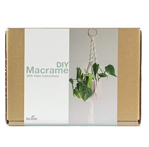 Bazeelic Kit Manualidades Macrame DIY para Adultos Principiantes con Instrucciones en Video para Hacer Macetero Colgante - Incluye Cuerda Algodón 4mm, Gancho de Acero, Aro de Madera e Instrucciones