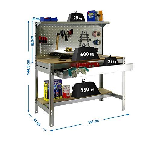 Simonrack 8435104946985 Banco de trabajo BT3 con cajón Simonwork Galva/Madera