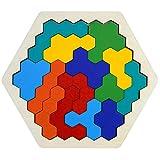 AMACOAM Shapes Puzzle Tangram Madera Infantil Madera Hexágono Rompecabezas Puzzle Madera Niños Adultos Geometría Lógica IQ Juego Regalo Educativo para Todas Las Edades Desafío 14 Piezas
