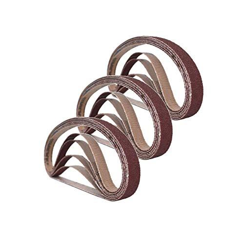 Schleifbänder, 25 mm x 762 mm, je 3 Stück, Körnung 60/80/100/120/240, für Bandschleifer, für Holzbearbeitung, Metall-Polieren, 15 Stück, Aluminiumoxid-Schleifband