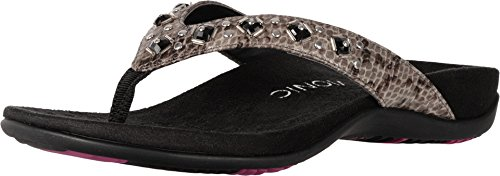Vionic Women's Rest Floriana Toepost Sandal - Ladies Flip flops with Concealed Orthotic Support Grey Snake 7 M US