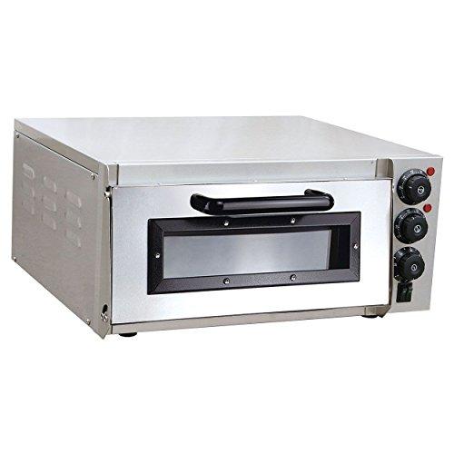 Pizzaofen elektrisch aus Edelstahl mit Pizzastein 1 Kammer 2000 Watt Steinbackofen mit Schamottstein