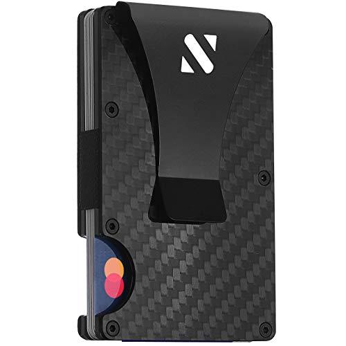 RFID Carbon Fiber Wallets for Men - Minimalist Aluminum Metal Money Clip Wallet (White)