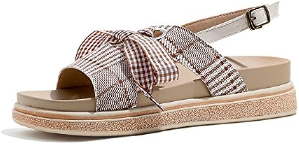 YMFIE Summer New Sweet Bow Fashion Retro Flat Sandals Open Toe Non-Slip Sandals