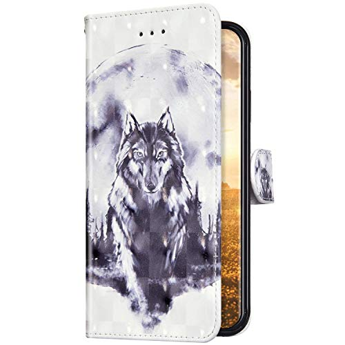Uposao Kompatibel mit Huawei P30 Lite Hülle Schutzhülle Leder Hülle Glänzend Bling Glitzer Muster Vintage Handyhülle Tasche Klapphülle Wallet Flip Case Ständer Kartenfächer,Wolf