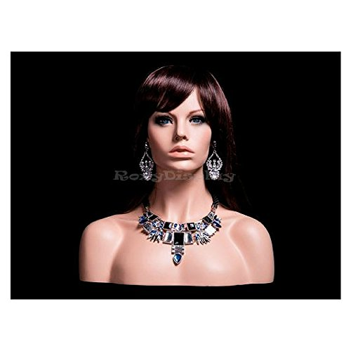 ROXYDISPLAY/™ Female mannequin head to shoulder portrait style MZ-S3 with ears pierced
