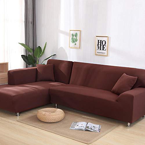 Funda de sofá de Esquina de Color sólido para Sala de Estar, Funda de sofá de Spandex elástica, 2 Toallas de sofá elásticas, Adecuada para sofá en Forma de L-café_4 plazas 235-300cm_1