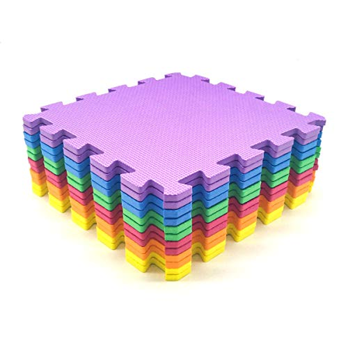 Amazon Brand - Umi 1  x 1  (30cm x 30cm) Tapis de Sol imbriqués | Tapis en Mousse Douce | Tapis de Jeu | Tapis de Gymnastique (12 18Pieces Vivid) (V-12)