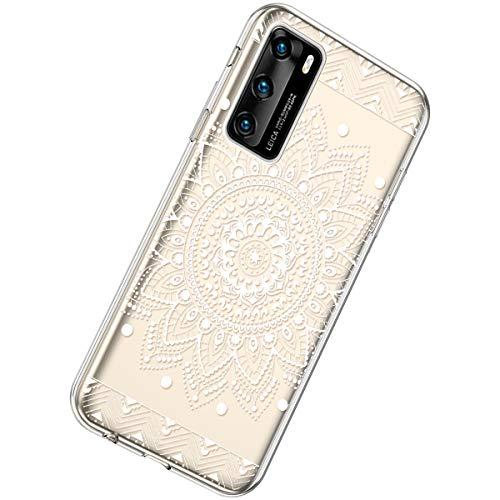 Herbests Kompatibel mit Huawei P40 Hülle Silikon Weich TPU Handyhülle Durchsichtige Schutzhülle Niedlich Muster Transparent Ultradünn Kristall Klar Handyhülle,Weiße Mandala