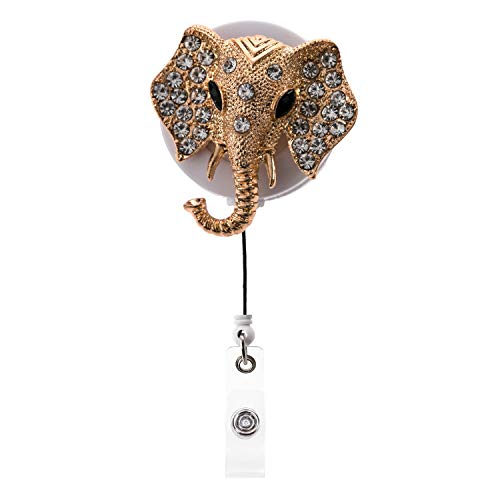 Lovely Elephant Design Bling Crystal ID/Name Badge Reel W/360 Degree Rotating Alligator Clip Cute Rhinestone Retractable Neck Lanyard Badge Holder