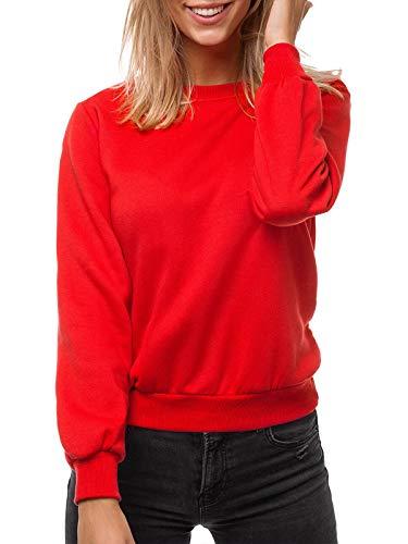 OZONEE Damen Sweatshirt Pullover Langarm Farbvarianten Langarmshirt Pulli ohne Kapuze Baumwolle Baumwollemischung Classic Basic Rundhals-Ausschnitt Sport JS/W01Z ROT M