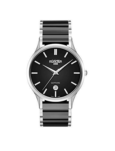 Roamer Herren Datum klassisch Quarz Uhr mit Keramik Armband 657833 41 55 60