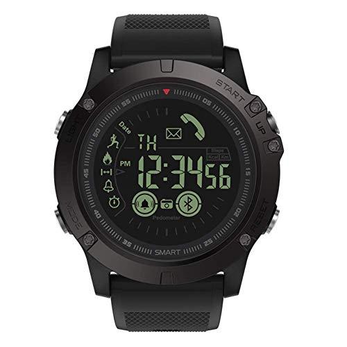 Multifunktion Robustes Militärsport Smart T1 Tact Uhren im Freien Arbeiten mit Apple Android Phone (schwarz)