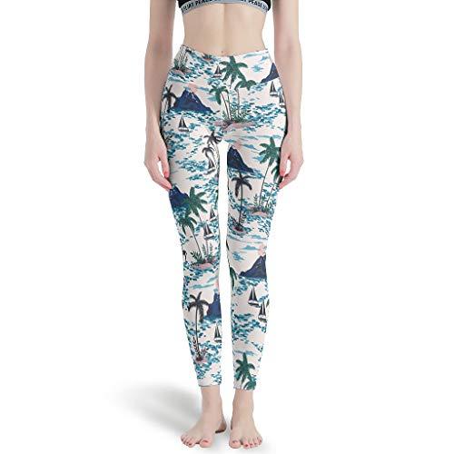 Pantalones de yoga para mujer con estampado de alta elasticidad, ideales para pilates, color blanco