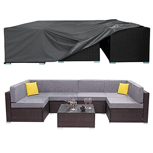 AKEfit - Fundas para muebles de patio, para exteriores, impermeables, anti-UV, 420D rectangulares para mesa y silla para exteriores, 110 x 84 x 28 cm