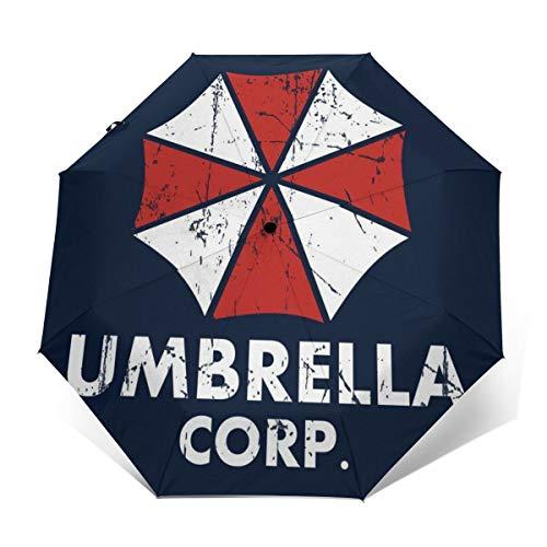Umbrella Corp Resident Evil Paraguas Plegable Compacto de Apertura y Cierre automático, Plegable, Parasol de Viaje