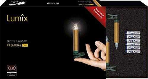 LUMIX Premium Mini, kabellose LED-Mini-Christbaumkerzen, Erweiterungs-Set mit 6 Kerzen, Flackermodus, Gold, Art. 75453