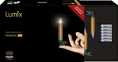LUMIX Premium Mini, kabellose LED-Mini-Christbaumkerzen, Erweiterungs-Set mit 6 Kerzen, Flackermodus, Gold, Art. 75453