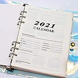 Calendario anual 2021, A5, calendario A5, planificador semanal, perfecta gestión del tiempo, libro de recetas que puedes escribir tú mismo (6 agujeros)