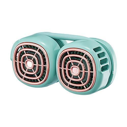 Ventilador de cuello de doble ala, ventilador de cuello colgante USB portátil, ventilador pequeño de escritorio giratorio plegable silencioso de bajo ruido, ventilador de aire acondicionado de refrige
