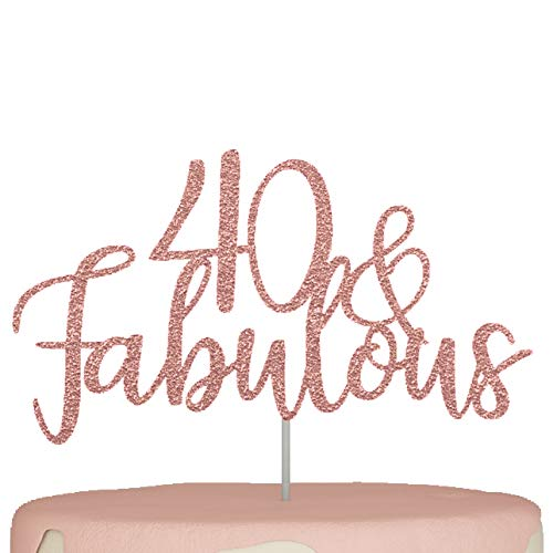 40th Birthday Cake Topper Forty 40 and Fabulous Decorations Rose Gold Glitter Happy 40th bday