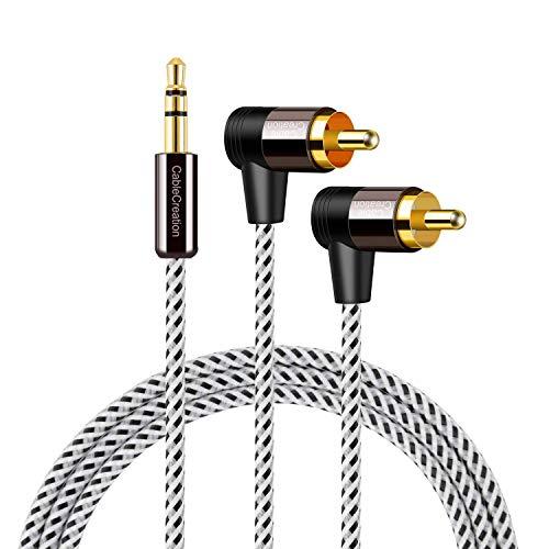 Cinch auf 3,5 mm, CableCreation 3,5 mm auf 2 RCA Stereo Audio Y Splitter Kabel (Stecker) Kompatibel mit TV, Smartphones, MP3, Tablets, Lautsprechern, Heimkino usw. 6 Ft / 1.8 m