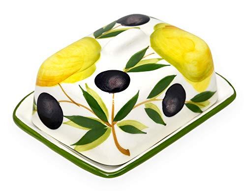 Lashuma Handgemachte Kleine Butterdose aus Bemalter Italienischer Keramik Zitrone - Olive, Butterbox Größe 12 x 9 cm