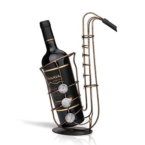 Tooarts Saxophon Weinflaschenhalter Getränkeflaschehalter Metall-Skulptur
