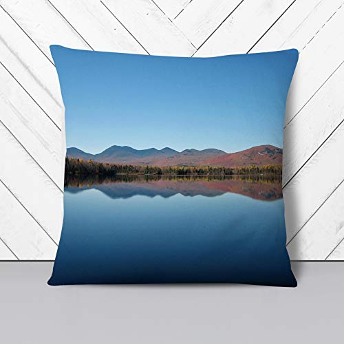 Big Box Art Cushion and Cover - Landscape Jerico Lake New Hamphsire USA - Single Square Throw Pillow - Soft Faux Suede Material - Stone Rear - 40x40 cm