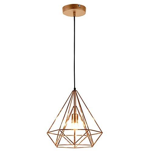 [lux.pro] Plafonnier Lampe de Plafond Éclairage de Plafond LED Suspension Design Vintage Métal Or Rose Hauteur : env. 200 cm Douille : 1 x E27