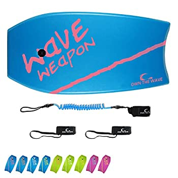 Own the Wave 37  Bodyboard for Kids and Adults - HDPE Slick Bottom & EPS Core - Lightweight Bodyboard for Beach and Surfing - Comes with Coiled Wrist Leash and Swim Fin Leash  Blue/Magenta